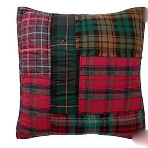 Pottery Barn Sullivan Plaid Patchwork Quilted Euro